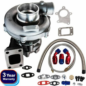 T3/T4 T04E A/R.63 Stage III Boost Anti Surge Turbo Charger & Oil Feed Line Kit