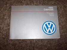 1989 Volkswagen VW Cabriolet Owner Owner's User Guide Manual RARE ORIGINAL