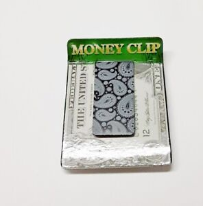 """Money Clip Black/White Paisley Print 2-1/4"""" x 1"""" Securely Holds Your Bills"""