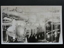 WW1 Naval TORPEDO ROOM showing stacked torpedos & launching tube Old RP Postcard