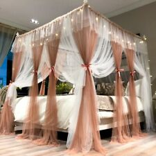 Double layer 4 Corner Bed Canopy Mosquito Net Queen Netting Mesh Curtain +Light