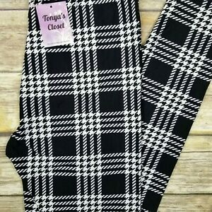 Houndstooth Plaid Leggings Black White Buttery Soft ONE SIZE OS
