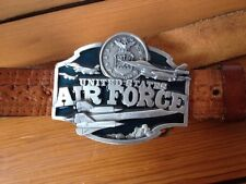 USAF Siskiyou US Air Force Military Pewter Buckle Handtooled Leather Belt 40 USA