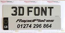 3d Font Effect UK Road Legal Domed Resin Raised Number Plate Set Pair