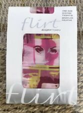Flirt Silent Faces Pink Shades Designer Microfibre Tights, One Size 8-14 BNWT
