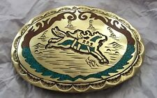 "VTG Huge (4.5"") Custom RODEO SADDLE BRONCO Turquoise Western Cowboy BELT BUCKLE"