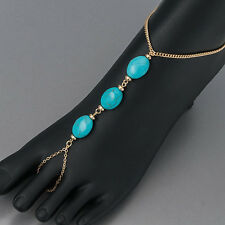 Gold Chain Finish Turquoise Stone Toe Extension Bohemian Ankle Bracelet
