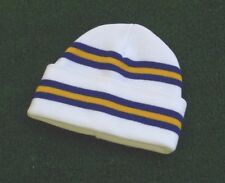 Leeds United White Colours Retro Bar Hat - White,Royal & Yellow - Made in UK