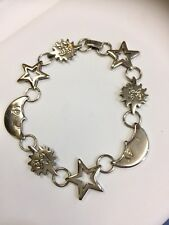 Vintage  Sterling Silver Moon Stars Sun Bracelet 8 inches