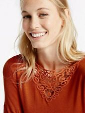 M&S COLLECTION Burnt Orange Lace Trim Slash Neck Flute Sleeve Top Jumper UK 10