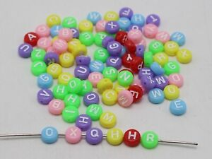 250 Mixed Pastel Color with White Acrylic Alphabet Letter Coin Beads 4X7mm