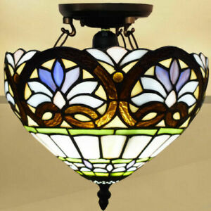 Multicolor Tiffany Style 10 inch Ceiling Lamp Handmade Stained Glass Home Decor