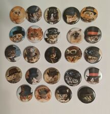 """Wholesale Collectable Set (24) 1.25"""" Pinback Button Badge Steampunk Cats"""