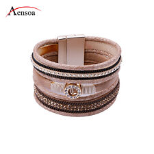Charm Multilayer Leather Magnetic Rhinestone Wrap Wristband Cuff Bracelet Bangle
