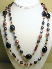 """SIGNED JOAN RIVERS GOLD PLATED RED & BLUE GLASS BEAD NECKLACE 60"""" LONG NEW BOX"""