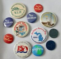 Lot of 9 MICHIGAN buttons pins Frankenmuth Railway Say YES 150 years + More Vtg