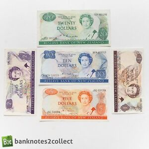 NEW ZEALAND: Set of 5 New Zealand Dollar Banknotes.