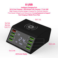 10W 8 Multi-Port USB Adapter Desktop Wall Charger Smart Charging Station