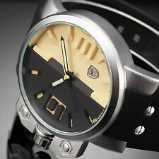 Salmon Shark Mens Luxury Oversized Beige Silicone Quartz Wrist Sport Watch+Box