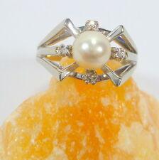 Gold Ring 65 (20,6 mm Ø) 585/14k White Gold Diamond 0,050ct Pearl