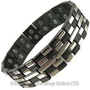 Jet Black & Chrome Finish Titanium Magnetic Bracelet Brick Design Health Magnets