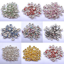 100pcs Czech Crystal Rhinestone Silver Rondelle Spacer Beads Jewelry Findings