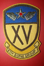 USAAF WW2 WWII 97TH BOMB GROUP 15TH XV AIR FORCE BULLION WIRE SQUADRON PATCH