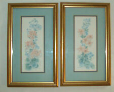 Light Blue Peach Handpainted Water Color Flowers Gold Frames Lucille Hand & Co.