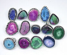 Exclusive !! 20 PCs Mix Color Solar Quartz .925 Silver Plated Gemstone Rings Lot