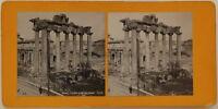 Roma Forum Tempio Da Saturn Italia Foto Stereo Analogica c1900