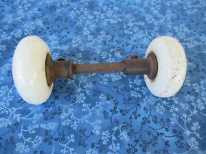 """Antique 2 White Porcelain Door Knobs, 2-1/4"""" Diameter, Vintage, Spindle Hardware"""