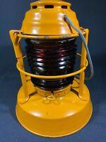 Vintage Dietz Night Watch Lantern Red Glass Fresnel Globe Syracuse NY