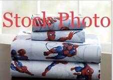 Pottery Barn Kids Full Sheet Blue Amazing Spiderman Marvel Superhero Flat & Fit