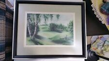 VINTAGE 1952 PAINTING BIRCH TREES LANSCAPE SIGNED