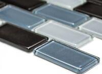 GREY & BLACK MIX BRICK GLASS 3D Clear Mosaic tile WALL Bath & Kitchen -66-0208_b
