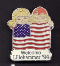 New listing 1994 Lillehammer Olympic Pin Mascots Usa Us Flag