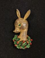 Vintage Gerry's Gold Tone Green Red Holly Christmas Deer Pin Brooch 13301