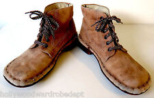 1970s work boot nubuck hippy disco clown sole simple square toe vtg 60s