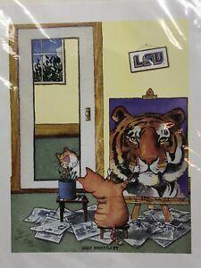 "Jim Tweedy SIGNED DATED ""Self Portrait"" Print Cat LSU Tiger"