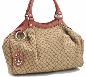 Authentic GUCCI Diamante Sukey Hand Bag Canvas Leather Beige Pink A7673