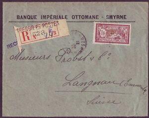 France Military Levant Turkey 1921 Registered cover Tresor Et Postes 528 Bank