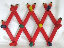 Kids Wood Red Pencil Motif Foldng 10 Peg Wall Hanger Mug Coat Hat Accordian Rack