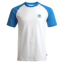 adidas Originals Logo Raglan Herren Trefoil Vintage Shirt Weiß Blau Rückendruck