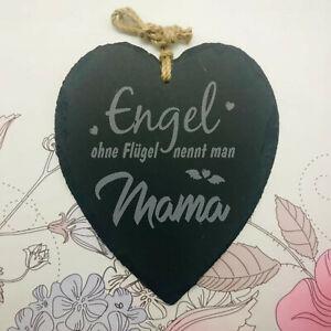 Schieferherz Engel Flügel Mama Schiefer Muttertag Mutter Geschenk Liebe
