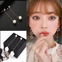 1Pair Pearl Women's Long Chain Tassel Drop Dangle Ear Stud Earrings Jewelry