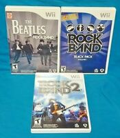 Rock Band 2, Track Pack Volume 1, Beatles Nintendo Wii 3 Game Lot Working Tested