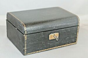 Antique Vintage Wood Black jewellery box Lift out tray Lock & Key Blue Lined