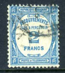 France 1927 Postage Due 2 Franc Grn Blue VFU Z314 ⭐⭐