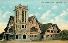 Long Beach California~Sign  Tower on Corner~First Baptist Church 1910