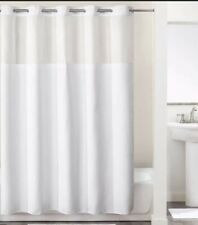 "Hookless Shower Curtain White Polyester Fabric, Voile Window 71"" X 74"""